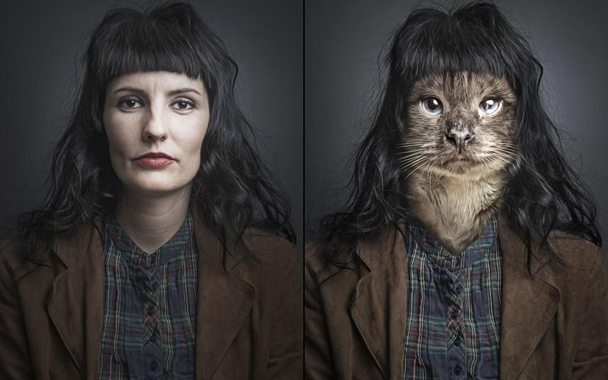 Caroline spliced with cat Tito