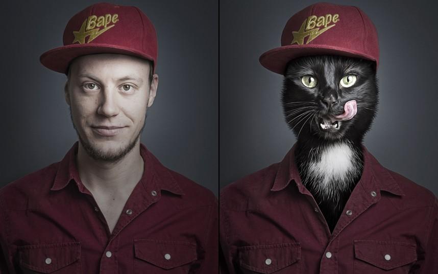 Jan spliced with cat Uschi