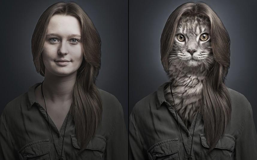 Josianne spliced with cat Mogli