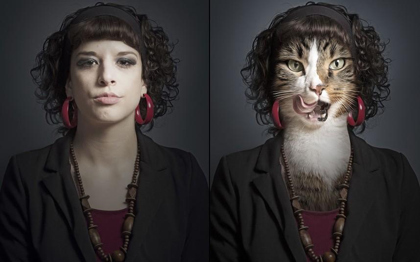 Natalie spliced with cat Pepi