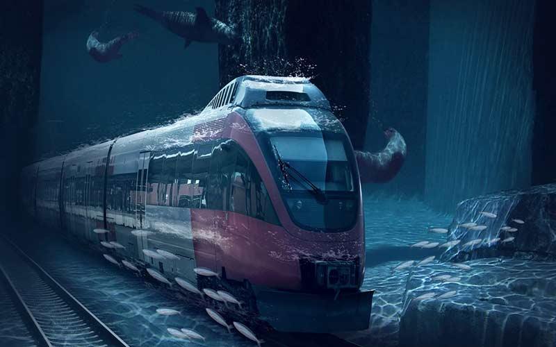 bullet train under water