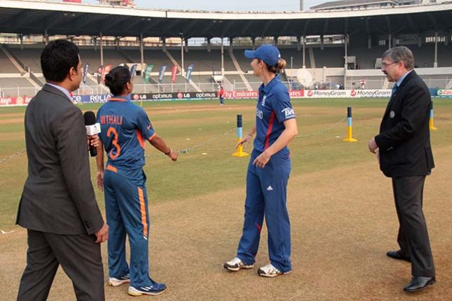 Mithali Raj, captain of India, and Charlotte Edwards, captain of England during the toss at the Brabourne stadium in Mumbai on February 3, 2013