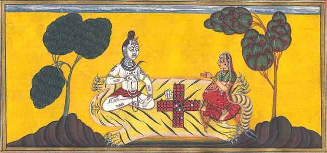 shiv and parvati playing dice